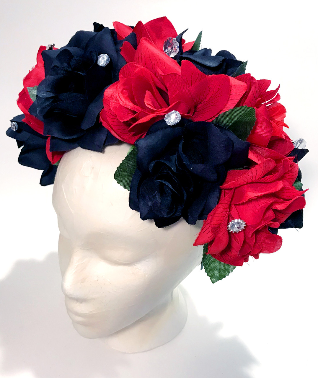 Mexican Womens Red Black Rose Flower Crown My Mercado Mexican Imports