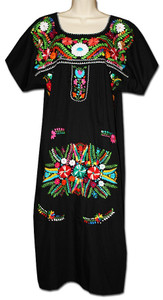 Hot Sale Vintage 70s Ethnic Floral EMBROIDERED Hippie BOHO Mexican puff slv  Blouse DRESS One Size