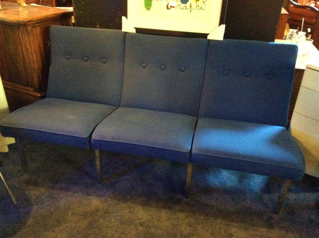 Vintage Steelcase Metal Frame Cobalt Blue Sofa
