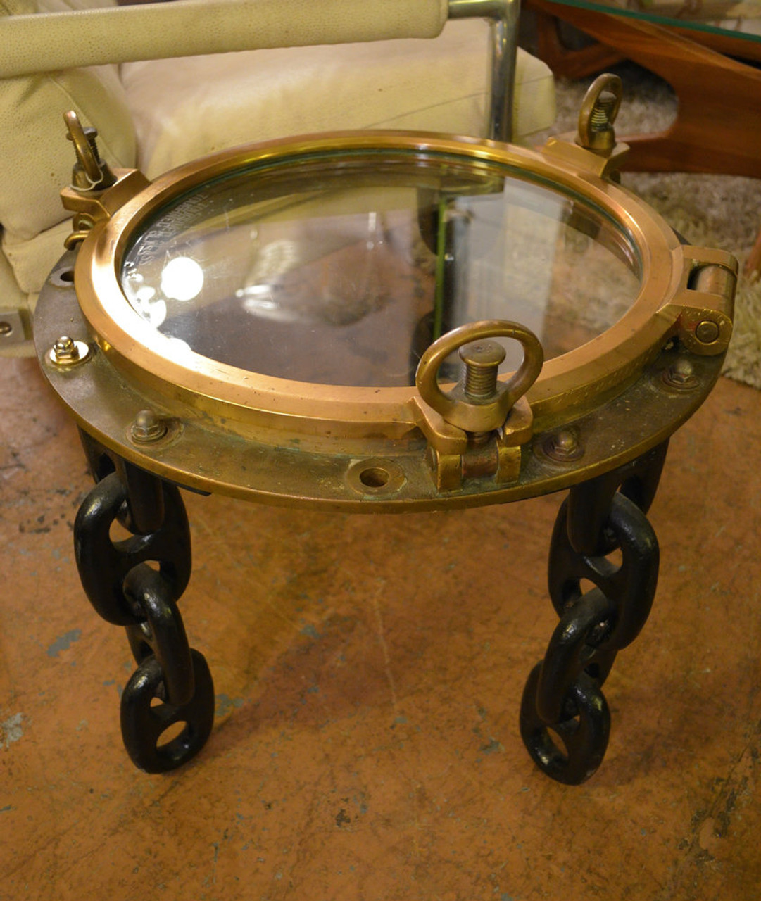Gentil Solid Brass Antique Voyager Ship Porthole Table With 3 Ship Chain Legs   Nautical  Side Table