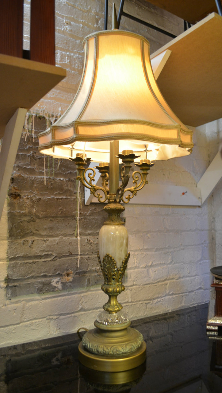 Victorian Electrified Candelabra Marble Set Of Table Lamps