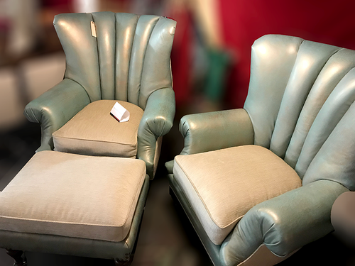 Vintage Wing Parlor Chairs With Ottoman