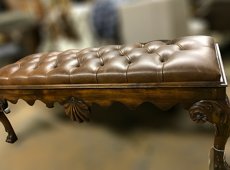 Walter E. Smith Furniture Wooden Bench with Brown Tufted Leather