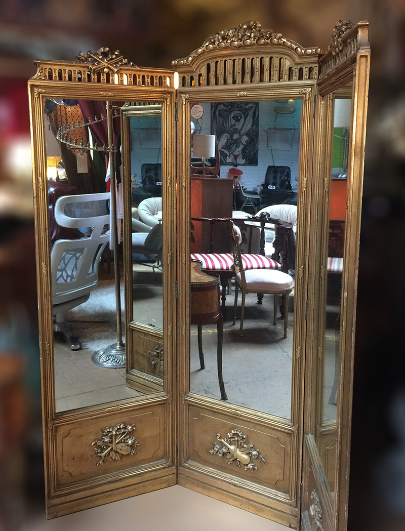 Victorian 3-Panel Mirror/Solid Brass/Ornate