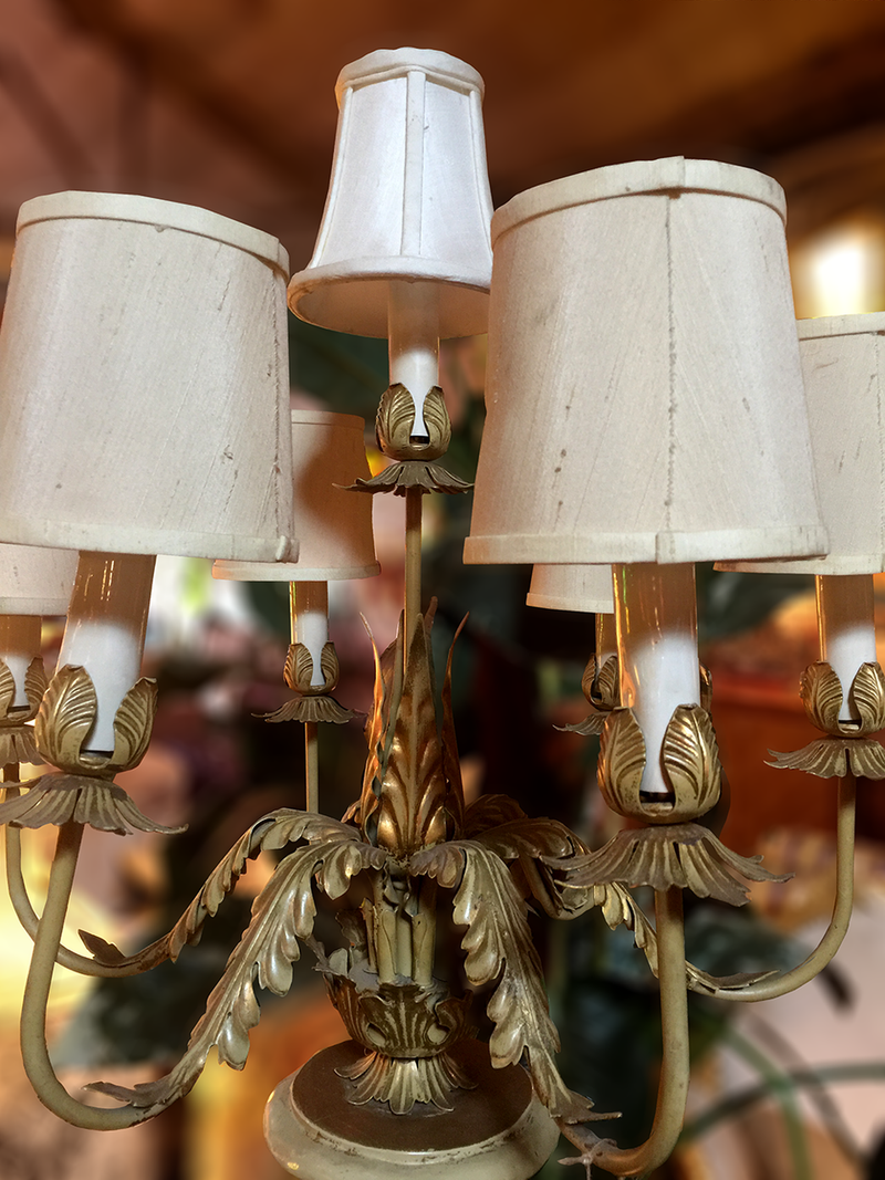 Ornate 7-Tier Brass and Wood Table Lamp