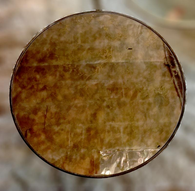 Circa 1970 Gold Pattern Mirror Top Table