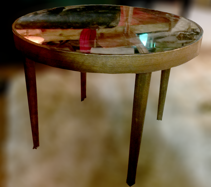 Mid-Century Mirror Glass Side Table (gold pattern infused mirror)