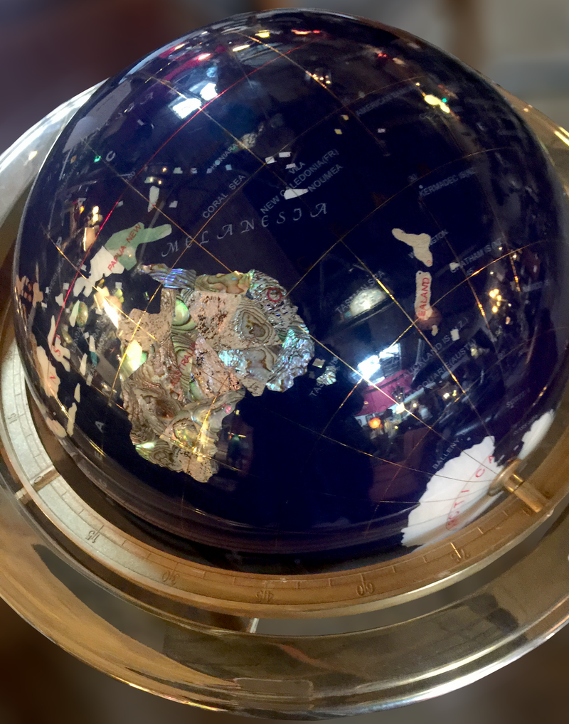 """17"""" Gemstone Globe with Opal Inlay and Gold Colored Ambassador 3-Leg High Stand"""