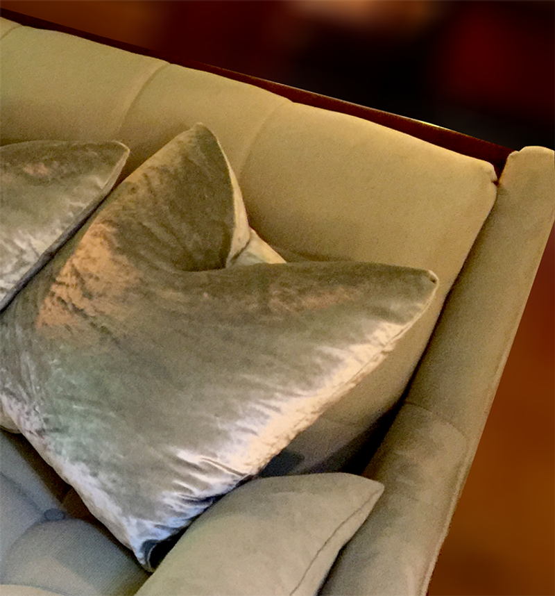 Adrian Pearsall Sofa with High-End Crushed Velvet Pillows Sold Separately