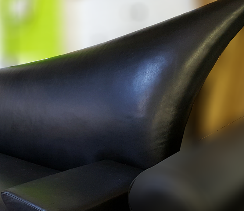 Catherine Chanicci, Black Leather Asymmetrical Couch