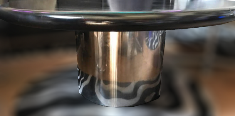 Knoll Black Coffee Table with a Metal Base
