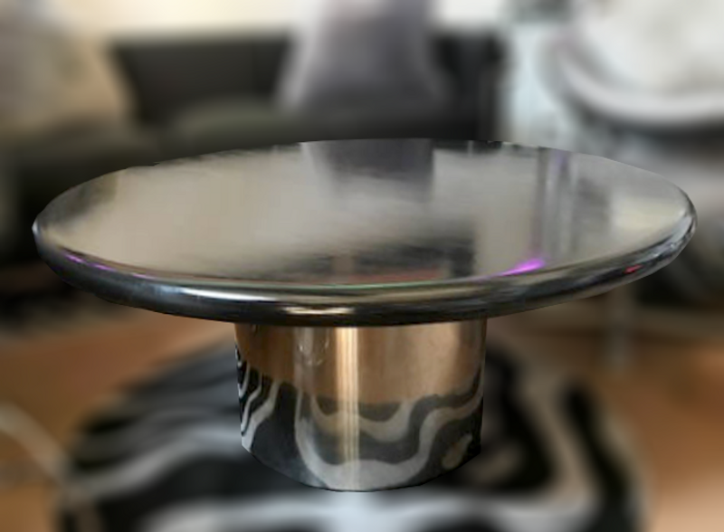 Knoll Black Coffee Table with Metal Base