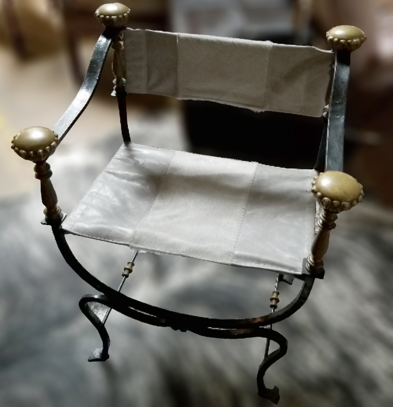 Italian Campaign Wrought Iron Arm Chair