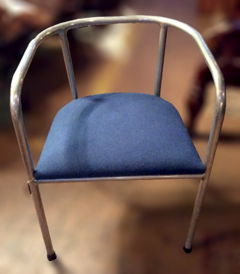 Vintage 1930's French modernist blue seat aluminum chair
