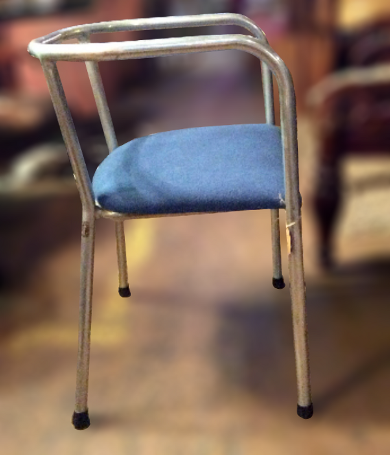 Vintage 1930's French modernist blue seat aluminum chairs
