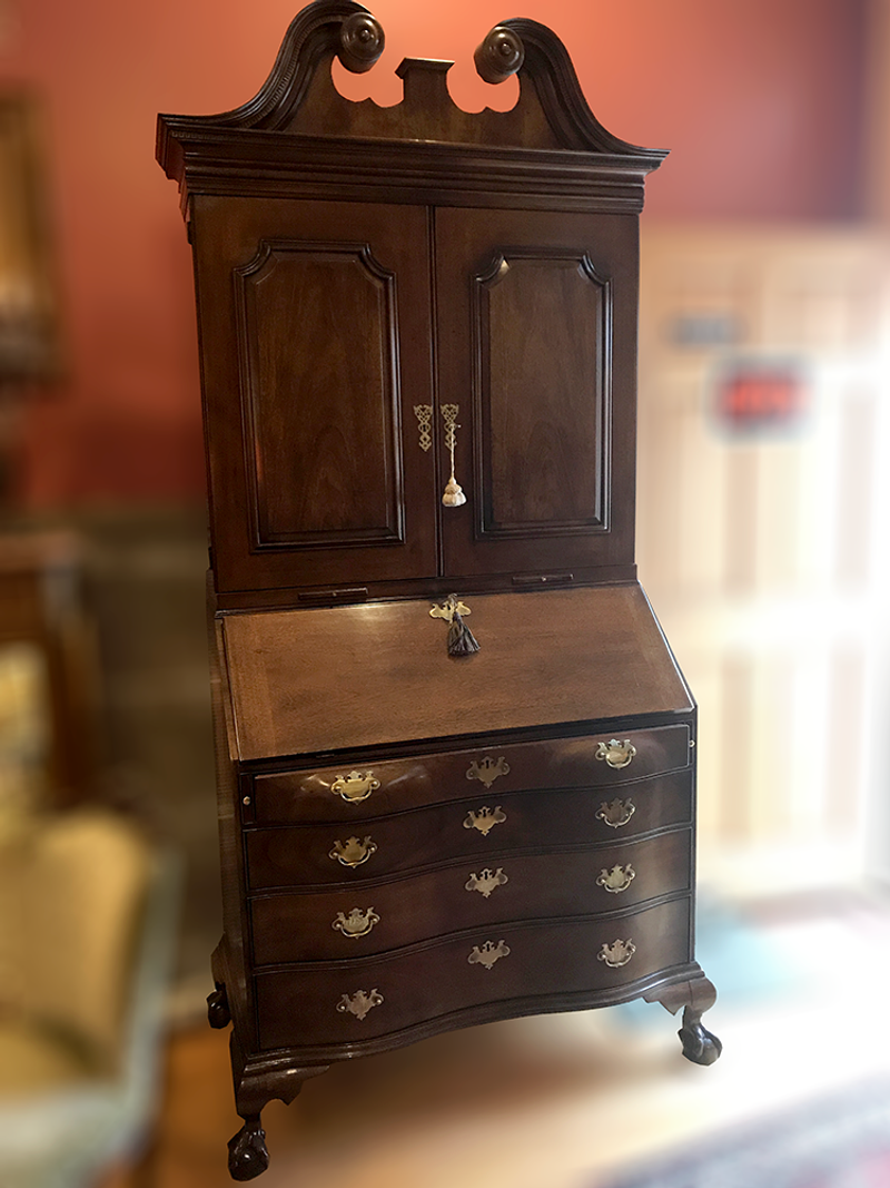Vintage Henredon Historic Natchez Collection Chippendale Secretary Scroll on top of the secretary.
