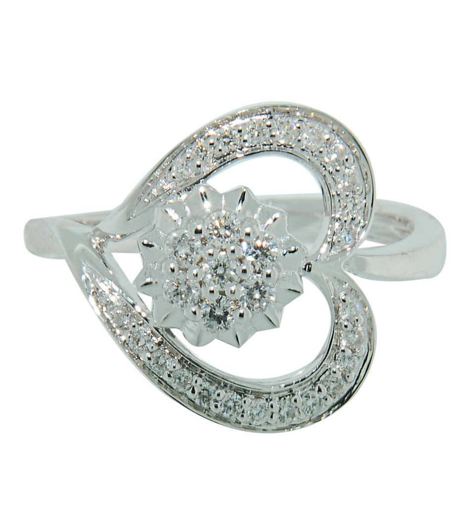 Heart Flower Ring with Round cut Diamonds set in 14Kt White Gold 93917