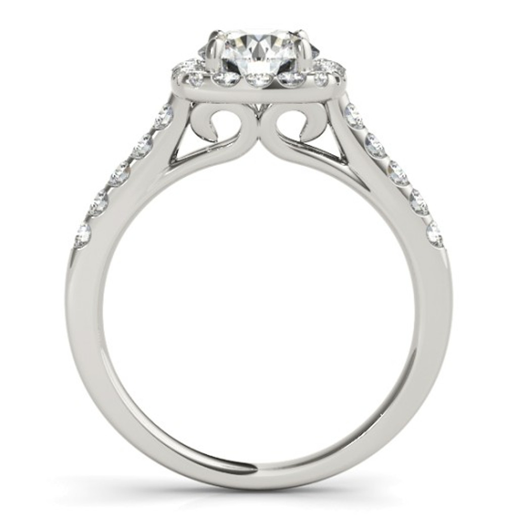 14KT White Gold Round Diamond Halo Engagement Ring  50576-E