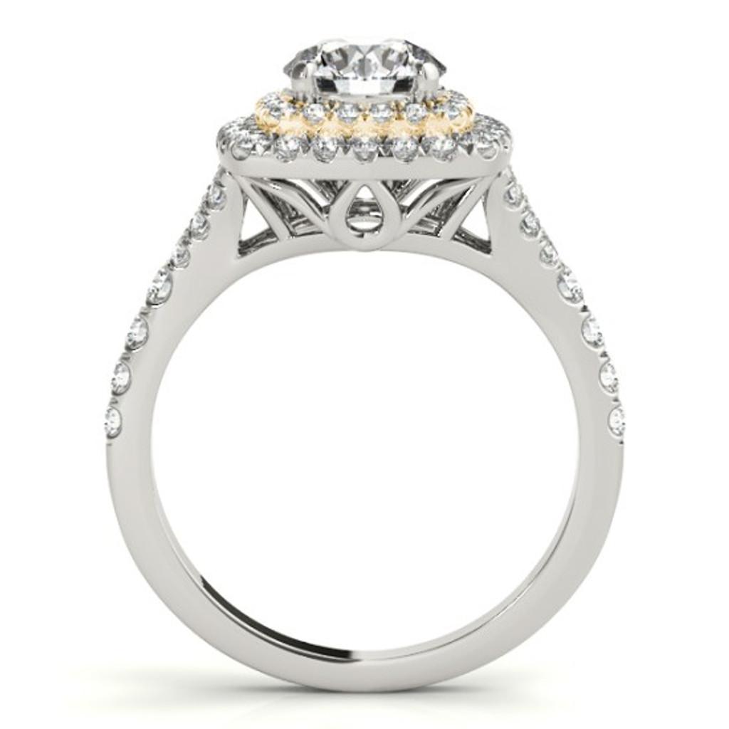 14KT White Gold Round Diamond Halo Engagement Ring 50901-E-1