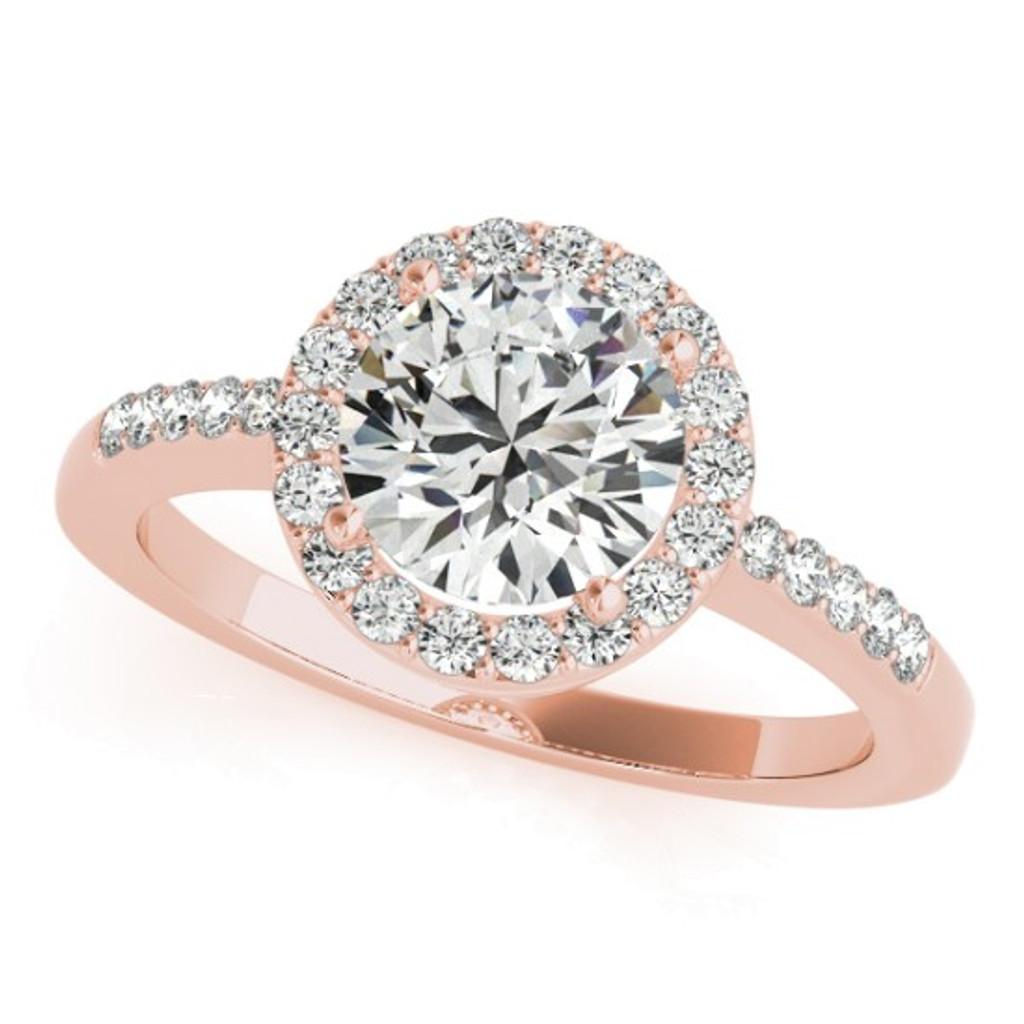 14KT White Gold Round Diamond Halo Engagement Ring 50891-E