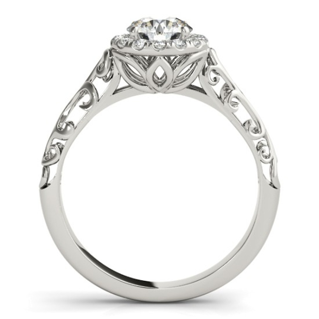 14KT White Gold Round Diamond Halo Engagement Ring 50855-E
