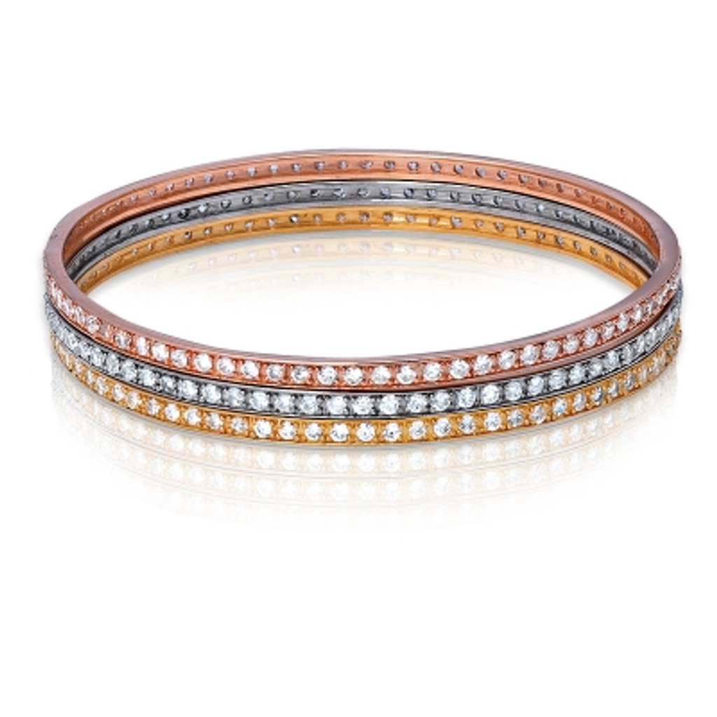 Sterling Silver Triple Strand Silver, Gold and Rose Gold Plated CZ Bangle