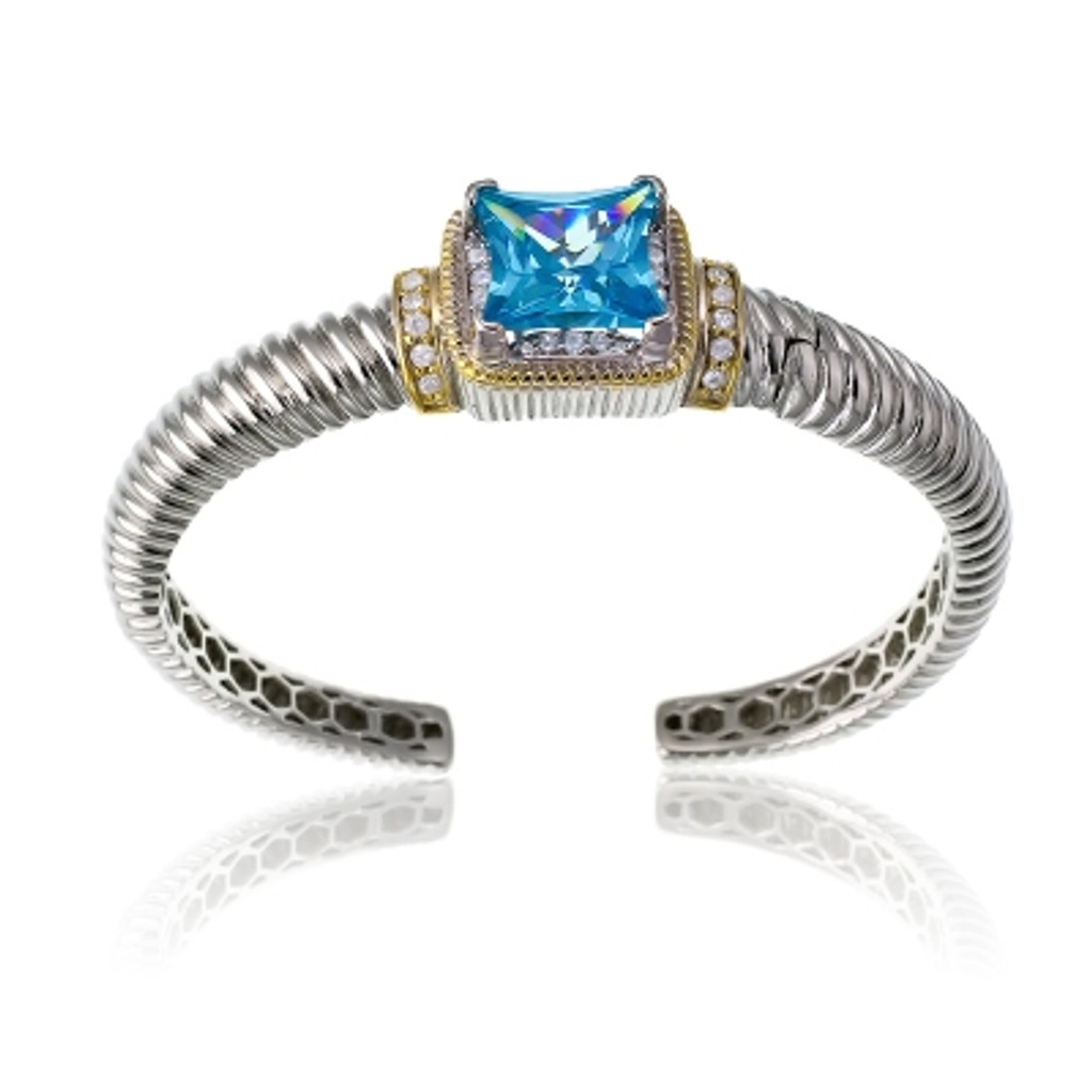Sterling Silver Gold Plated & CZ Center with Large Square Blue CZ Bangle