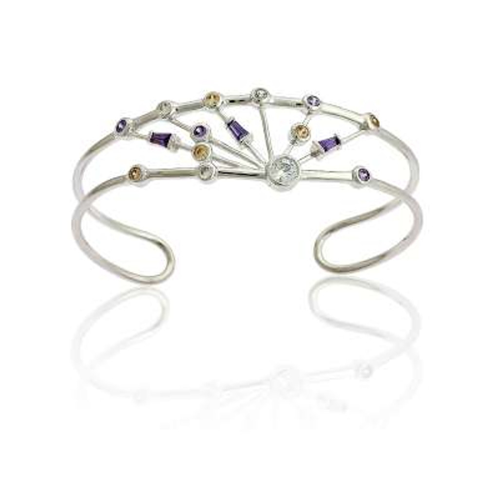 Sterling Silver Bangle with Champagne, Clear and Lavender CZ's