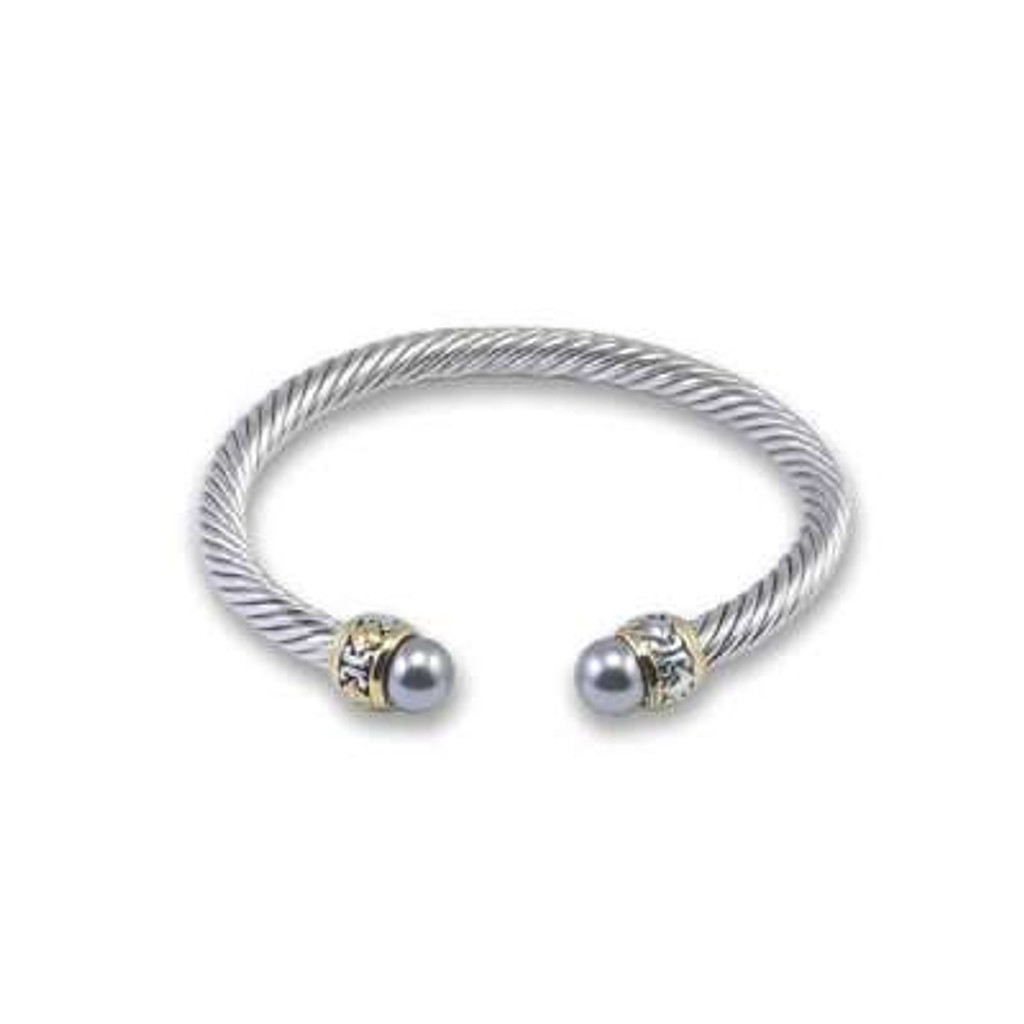 Sterling Silver Cable Bangle with Gold Plated Ends Simulated with Gray Pearls