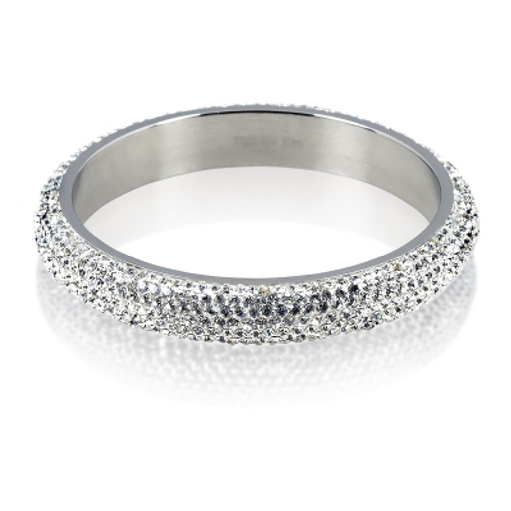 Stainless Steel White Crystal 12mm Bangle