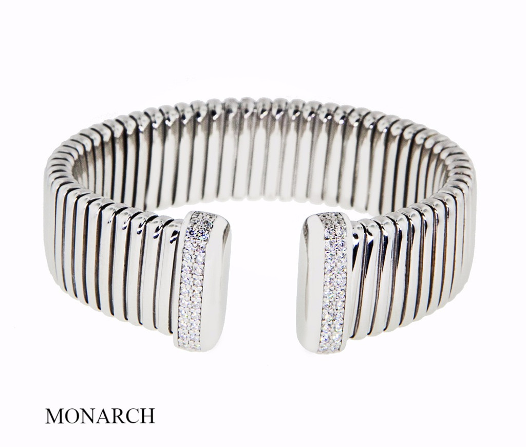 Italian Silver & Cubic Zirconia Wide Cuff Bangle  Gold Plated BRAG197