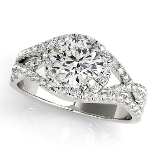 14KT White & Rose  Gold Round Diamond Halo Engagement Ring  50849-E