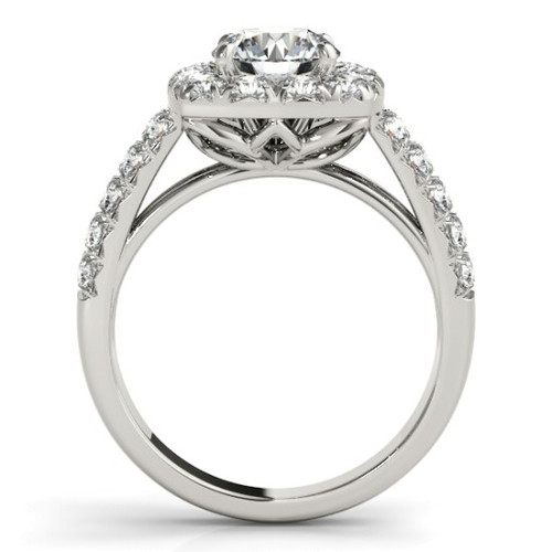 14KT White Gold Round Diamond Halo Engagement Ring 50657-E