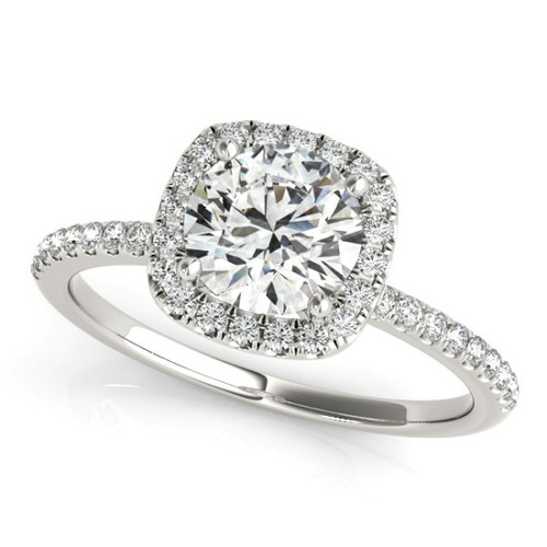 14KT White Gold Round Diamond Halo Engagement Ring 50893-E