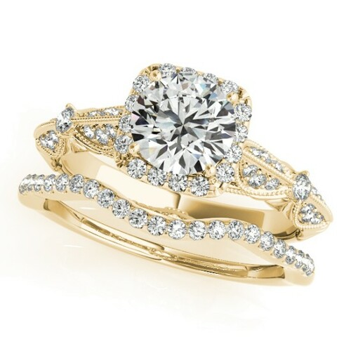 14KT White Gold Round Diamond Halo Engagement Ring 50874-E