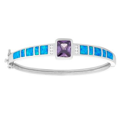 Sterling Silver Blue Inlay Opal Bangle