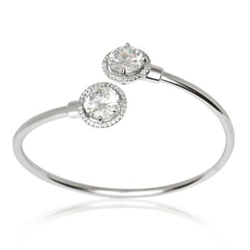 Sterling Silver Halo CZ Bangle
