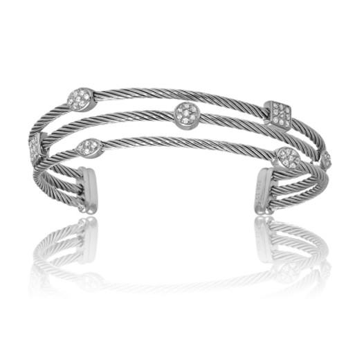 Sterling Silver Triple Strand and Multi-Shaped CZ Bangle