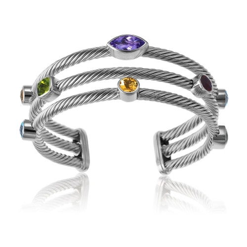 Sterling Silver Large MC, Multi-Shaped Gemstone 3-Strand CZ Bangle