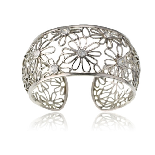 Sterling Silver Daisy with Center CZ's Wide Open Bangle