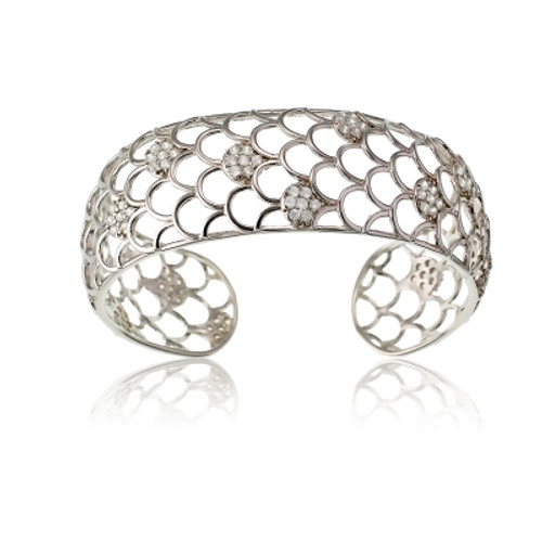 Sterling Silver and CZ Scallops Wide Bangle