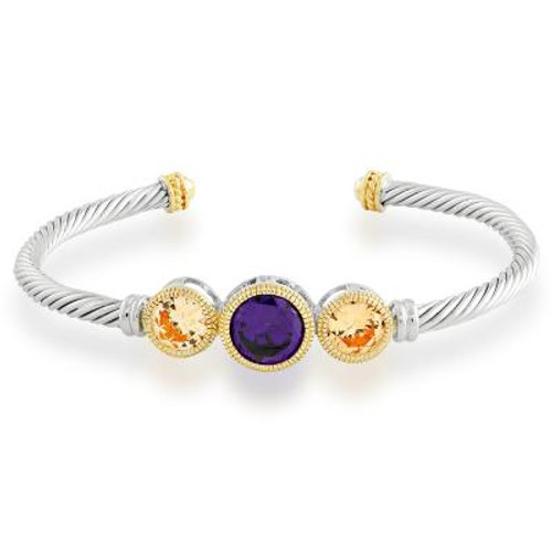 Sterling Silver Cable Bangle with Gold Plated Ends Center Amethyst & Champagne Circle CZ's