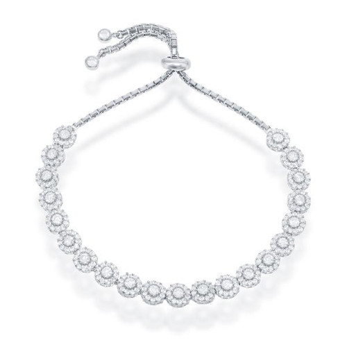 Sterling Silver Adjustable Round Cubic Zirconia BOLO Bracelet
