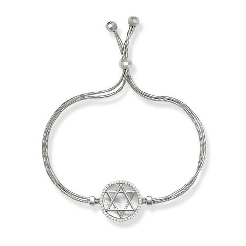 White Mother of Pearl with Center Cubic Zirconia Star of David Adjustable BOLO Bracelet