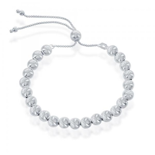 Sterling Silver 6MM Round Beads Adjustable BOLO Bracelet