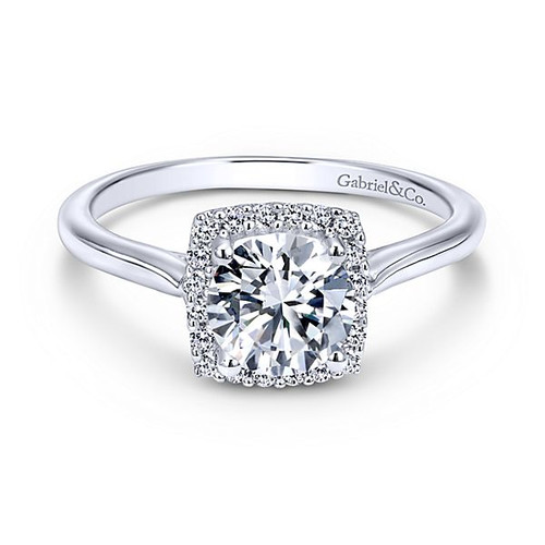 Jenna 14k White Gold Round Halo Engagement Ring by Gabriel & Co.