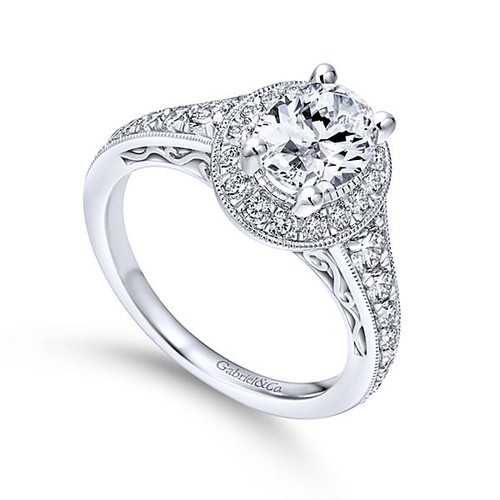 Cortlandt 14k White Gold Oval Halo Engagement Ring angle 3