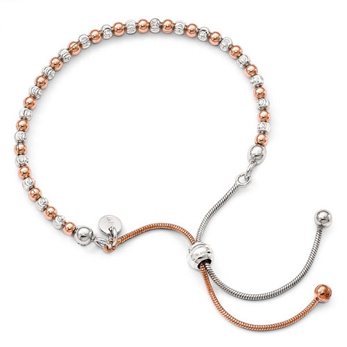 Leslie's Sterling Silver Rose Gold-plated D/C Adjustable Bracelet