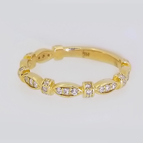 14KT Yellow Gold Round Cut Diamond Stackable Band 0.35 ctw