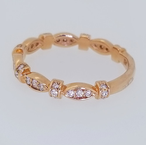 14KT Rose Gold Round Cut Diamond Stackable Ring 0.35 ctw